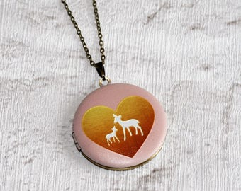 Deer and Fawn Locket Necklace, New Mom Necklace, Baby Shower Jewelry, Animal Necklace