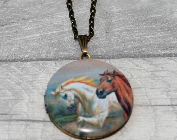 Horse Locket Necklace, Horse Necklace, Pony Jewelry, Equestrian
