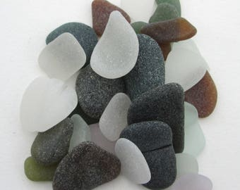 English surf tumbled beach glass, genuine sea glass, Cornwall, eco craft supply, jewelry making supplies, 30 frosted pieces, UK collector