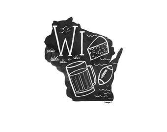 Wisconsin State Print // 1canoe2 // Modern Art Print