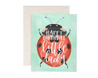 Happy Birthday, Little Lady(bug) // Illustrated Card // 1canoe2