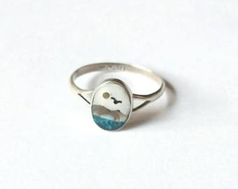 Vintage sterling silver ring Native American inlay scene mosaic mountain bird ocean sea turquoise mother of pearl abalone