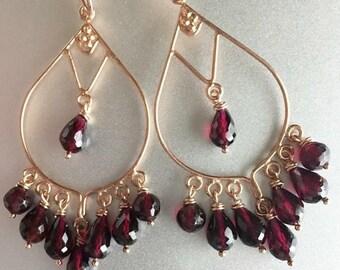 XMAS IN JULY 20% off, Christmas Garnet Earrings, Merlot Rhodolite Garnet Chandeliers in Rose Gold, Sterling Silver or 14K Gold Vermeil