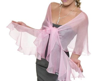 Promo Sale: Wedding Evening Orchid Pink  Silk Chiffon Fluttering Scarf Wrap