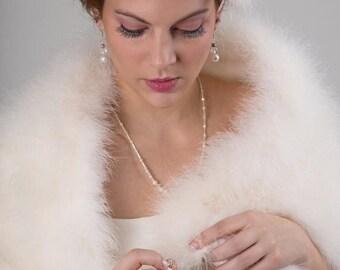 Promo Sale: Luxurious Bridal Marabou Wrap with scarves