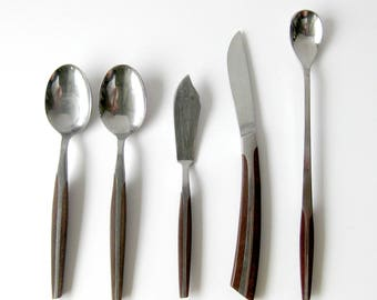Mid Century Modern Assorted Pieces / Eldan ELD2 Brown Japan Teak Look / Composite with Stainless Steel / Butter Knife / Iced Tea Spoon