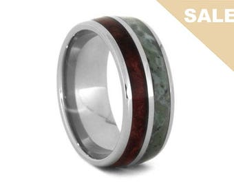 on sale engravable jade wedding band with natural redwood titanium ring wood wedding - Jade Wedding Ring
