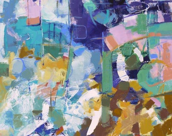 """MODERN ART """"Invite"""" Original Abstract Painting 30"""" x 40"""" canvas Direct from the studio by Elizabeth Chapman"""