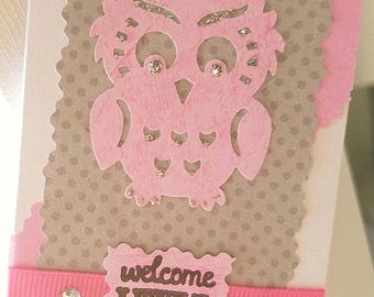 Welcome Little One gift enclosure card, baby girl owl card, new baby present
