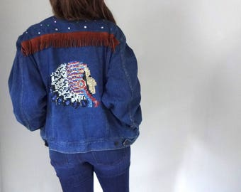 Vintage SEQUIN Denim Jacket • 1990s Clothing • Custom Rhinestone Blue Jean Bomber Coat Handmade Fringe Studs • 80s Unisex Small Medium Large