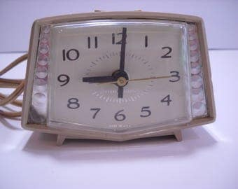 General Electric Vintage Alarm Clock  Mid Century USA Gold Atomic Accents