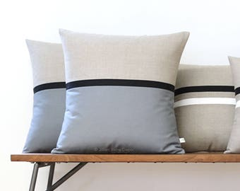 As seen on GQ: Minimal Horizon Line Pillow Cover in Gray, Black & Natural by JillianReneDecor (20x20) Modern Decor, Masculine, Gift For Him