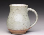 handmade pottery mug, ceramic tea cup, coffee mug with green celadon and lavender blue ash glazes