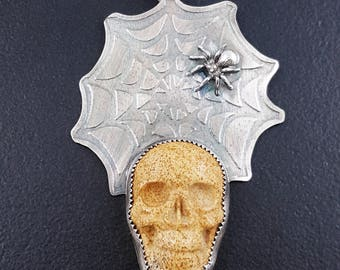 Spiderweb Skull Necklace, skull, skull jewelry, spider, large skull necklace, sterling silver, michele grady, picture jasper, halloween