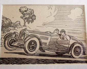 Vintage Racing Car Print - 1950s Boys Adventure Story Book Illustration, Ideal for Framing