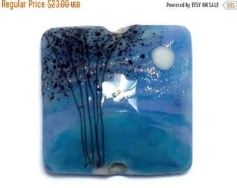 ON SALE 30% off NEW! Handmade Glass Lampwork Bead - 11839604 Bluebell Moonlight Pillow Focal Bead