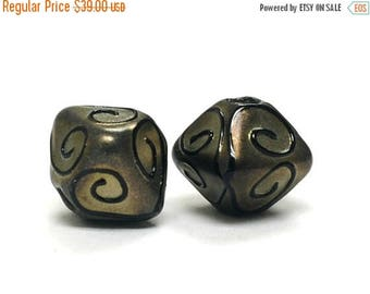 ON SALE 30% off Glass Lampwork Bead Sets  - Five Golden Pearl Surface w/Black Swirl Bicone Beads 11204807