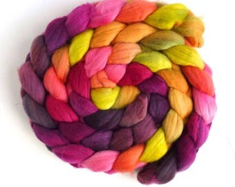 Rambouillet Wool Roving - Hand Painted Spinning or Felting Fiber, Vibrant Selection