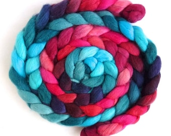 Polwarth/Silk Roving - Hand Painted Spinning or Felting Fiber, Red Hot and Blue
