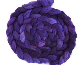 Blurple, BFL/Silk Roving - Handpainted Spinning or Felting Fiber