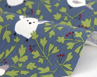 Round little bird  - blue gray fabric - Ox fabric, Cotton 1/2YD