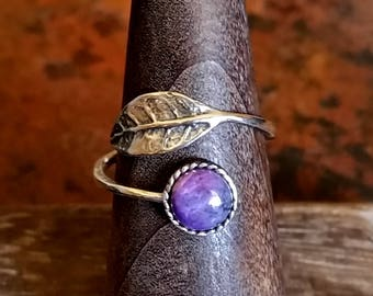 Sugilite Sterling Silver Leaf Wrap Ring