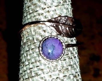 Sugilite Rose Gold Leaf Wrap Ring