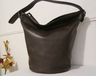 Coach bucket bag, Large Coach Bag, Brown leather Coach,  Cross body bag, Large Leather Bag
