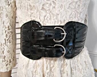 Goth Rocker Belt, Steampunk Belt, faux leather belt, Gothic belt, Buckle belt, Stretch belt, corset hardness Sash