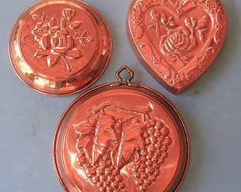 Vintage Copper Molds Vintage Copper Heart Mold Vintage Copper Grape Mold Vintage Copper Rose Mold Vintage Jello Mold