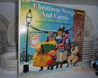 1959 Christmas Songs and Carols 24 Favorites Chorus and Orchestra Directed by Mitch Miller 33 1/3 RPM Non Breakable Golden Record