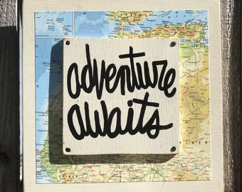 """Hand Made Adventure Quote Vintage Map Collage Art Wall Art Travel Gift Hand Painted Sign """"Adventure awaits"""""""