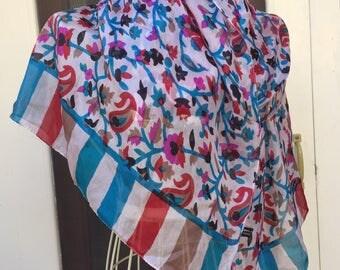 India Silk Scarf, long Vintage scarf floral silk vintage indian scarf boho vintage floral scarf