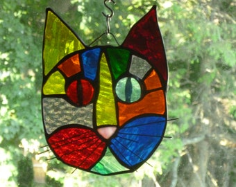 Cat Face Stained Glass  in Beautiful Rainbow Multi Colors   Brilliant eyes
