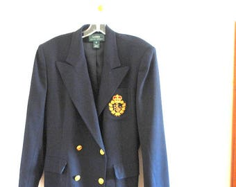 Classy vintage 80s, dark navy blue wool,, nautical, military style, double breasted blazer, jacket. Made by Ralph Lauren. Size14