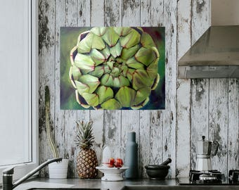 Artichoke 3D Paper Sculpture & Oil Painting Green Vegetable Food Art Painting Kitchen Picture