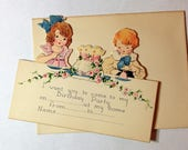 Vintage Die Cut Birthday Party Invitation c1930s with Envelope and Cute Children Boy and Girl