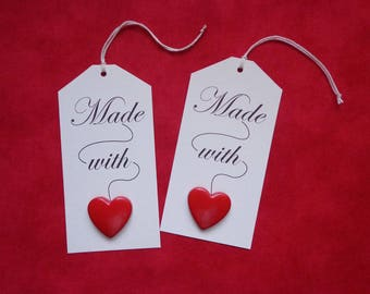 Button Gift Tags, Made with Love Heart, Pack of 6