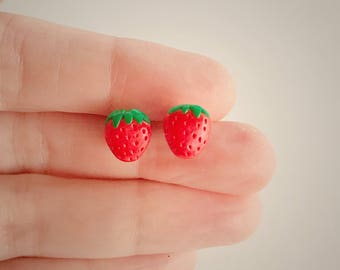 Tiny Strawberry Earring Studs, Polymer Clay, Fruit Earring Studs, Kawaii, Premo