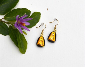 164 Fused dichroic glass earrings trianglar, gold