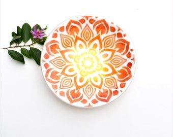 Fused glass bowl, white, red, orange, yellow