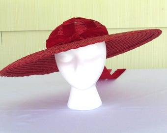 1940's vintage red straw very wide brim cartwheel hat from Julius Garfinkel