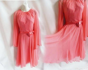 Vintage 60s Dress Size M L Coral Pink Mod Cocktail Silk Chiffon Bridesmaid 50s
