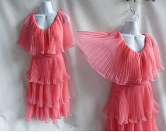 Vintage 60s Dress Size M Hot Pink Mod Cocktail Accordion Pleat 50s Bridesmaid