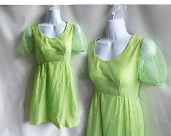 Vintage 70s Dress Size S Green Flocked Chiffon Mini Bridesmaid Prom babydoll