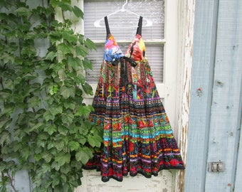 Lg Upcycled Silk Cotton Multi Colored Empire Waist Summer Dress// emmevielle