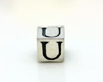 Sterling Silver Alphabet U Block Cube Square Bead 5.5mm Large Hole