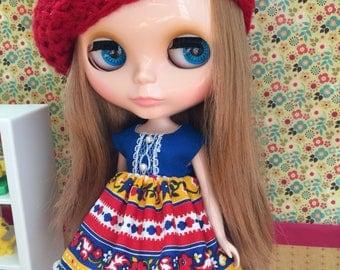 Dress & Beret Set for Blythe - Red Blue Orange Floral