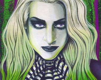 Ghoul ORIGINAL PAINTING Gothic Undead Green Purple Stripe Ghost Portrait Acrylic Gouache Fantasy Art Easel Display