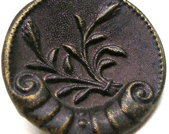 """Antique Button, Victorian Sea shell with plant & purple tint, 1"""". Plant life."""